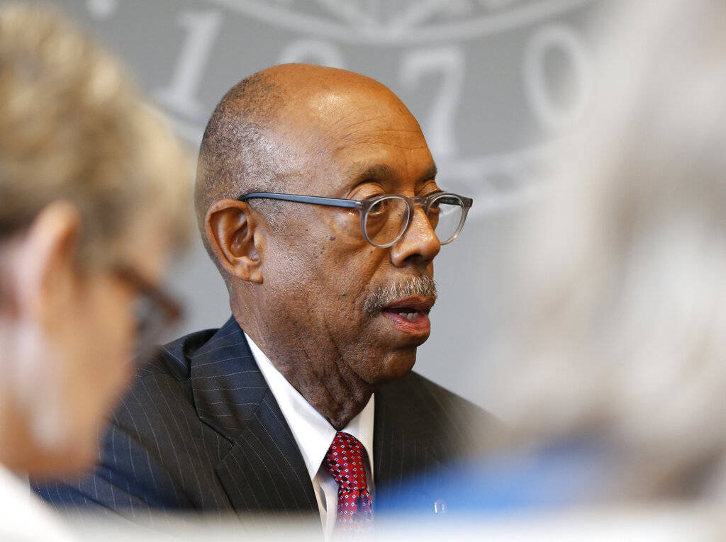 FILE - In this May 17, 2019, file photo, Ohio State University president Michael Drake answers ...
