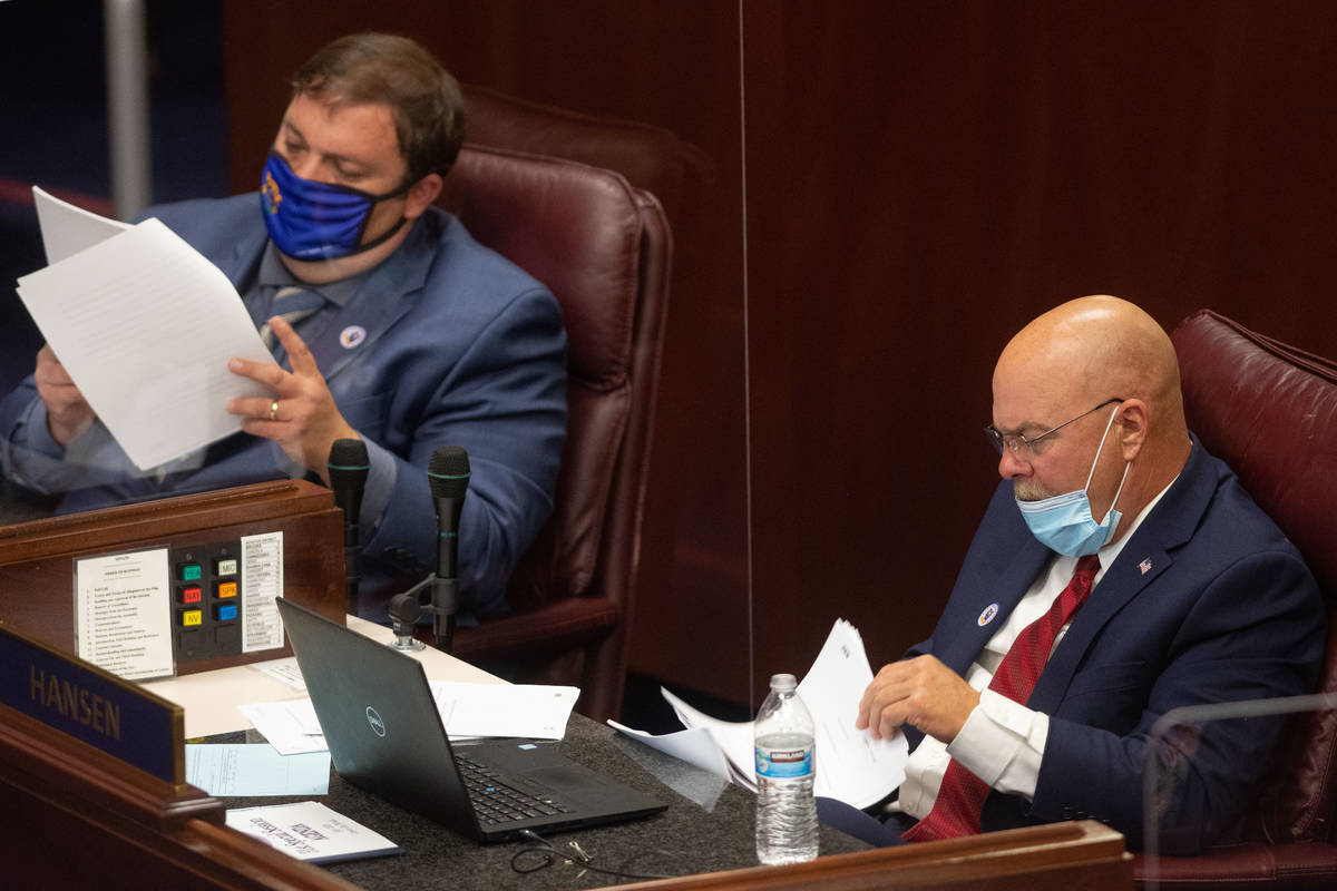 Nevada State Senators, James Ohrenschall, left, and Ira Hanse, right, on the first day of the 3 ...