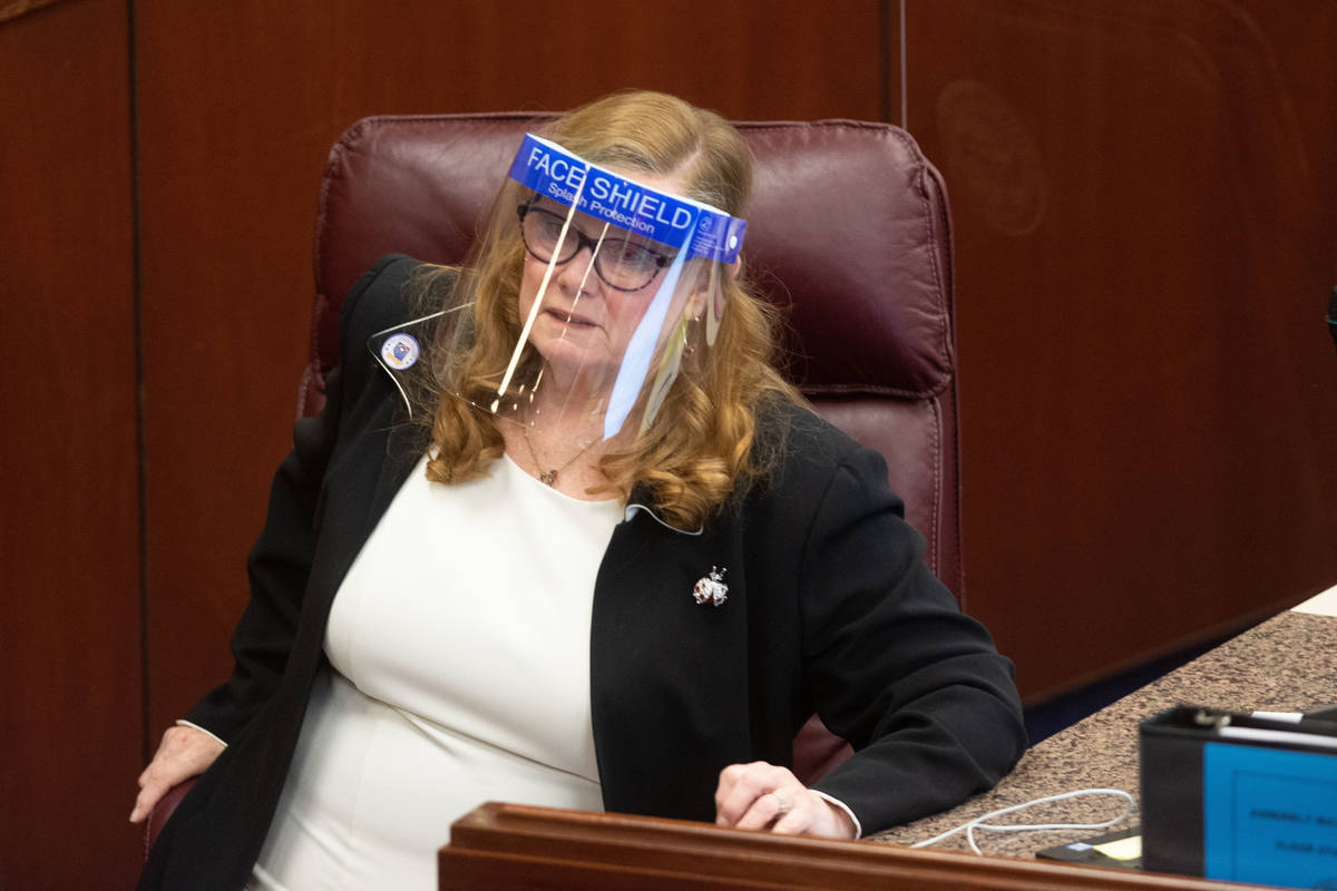 Nevada Assemblywoman, Maggie Carlton, on the first day of the 31st Special Session of the Nevad ...