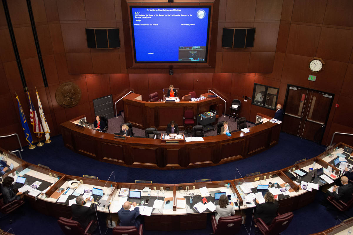 The Nevada State Senate chambers on the first day of the 31st Special Session of the Nevada Leg ...