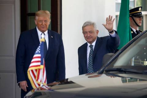 President Donald Trump greets Mexican President Andres Manuel Lopez Obrador at the White House ...