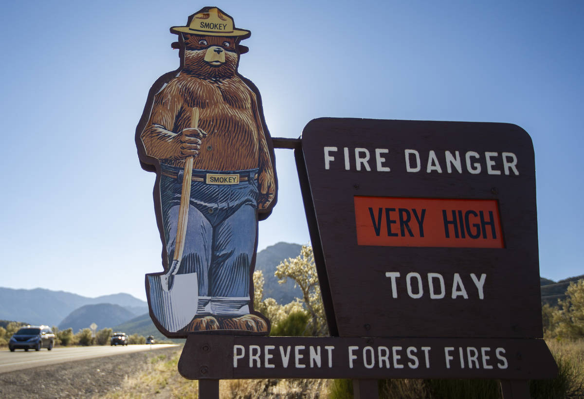 A U.S. Forest Service sign indicating the level of fire risk on Kyle Canyon Road at Mount Charl ...