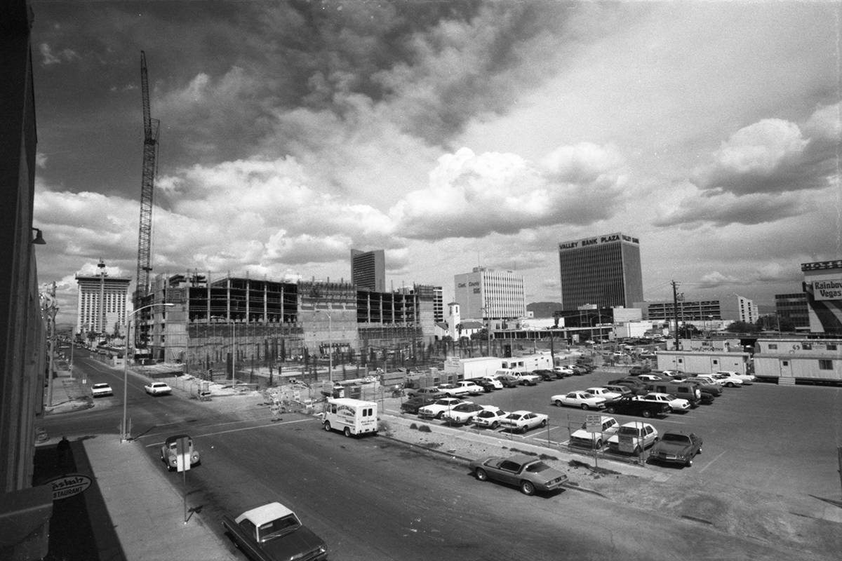 Construction of the Clark County Detention Center in downtown Las Vegas in 1982. The view is lo ...