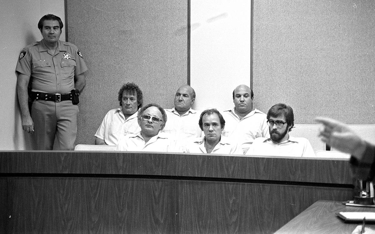 """Six members of the """"Hole in the Wall Gang"""" appear in justice court after being arrested for ..."""