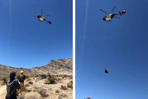 An injured dirt bike rider is airlifted Wednesday, July 8, 2020, near West Lake Mead Boulevard ...