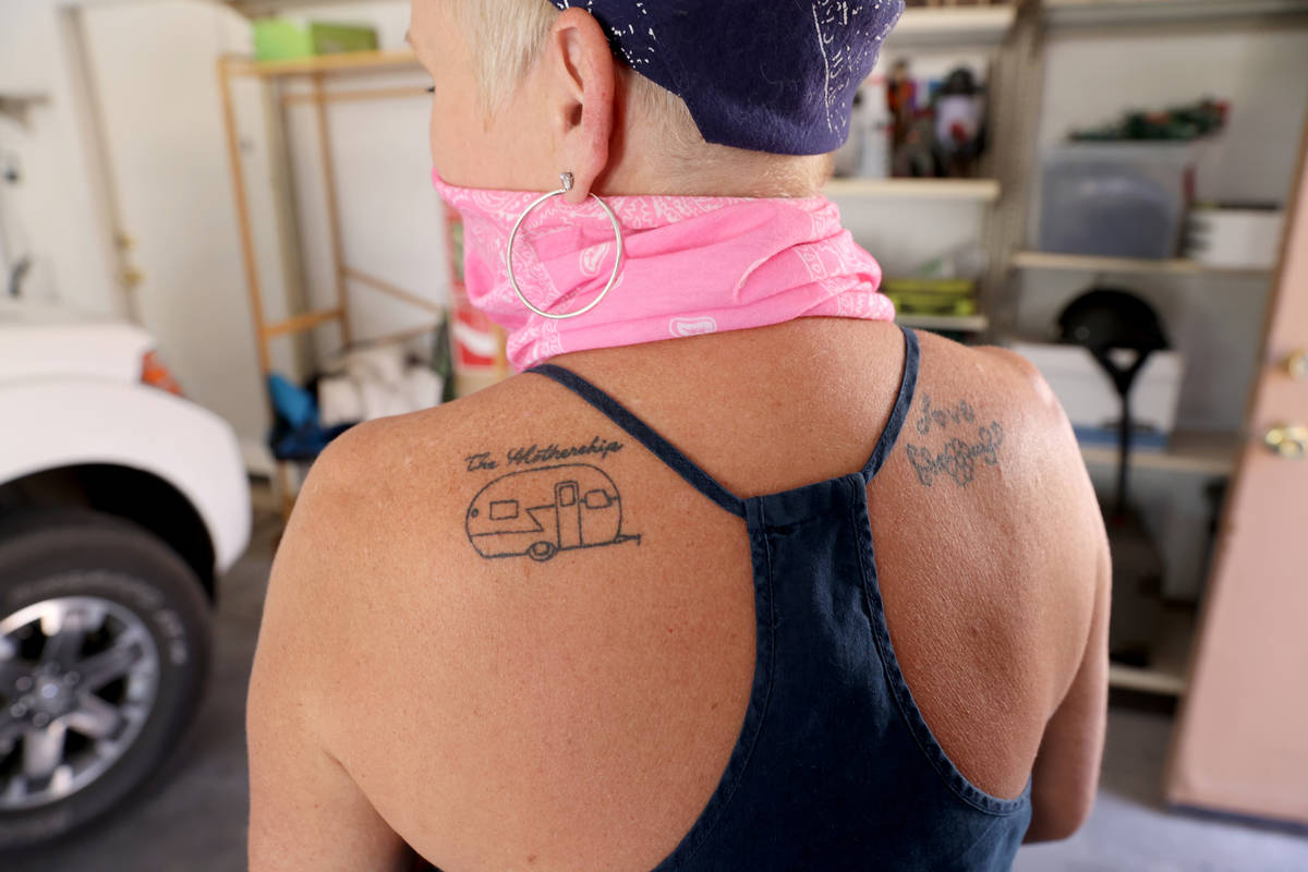 Susy Marsian-Bolduc shows a tattoo of her trailer in her Las Vegas home Thursday, July 9, 2020. ...