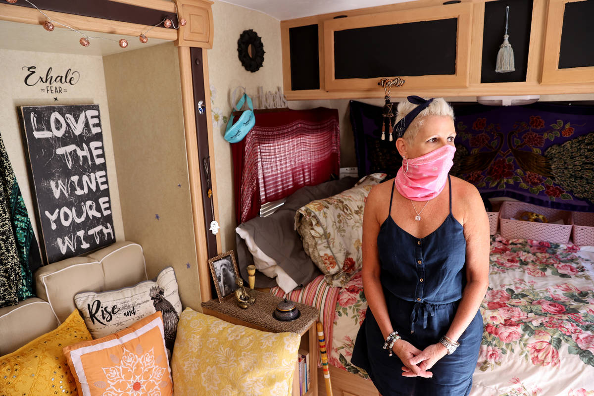 Susy Marsian-Bolduc in her trailer parked at her Las Vegas house Thursday, July 9, 2020. Marsia ...