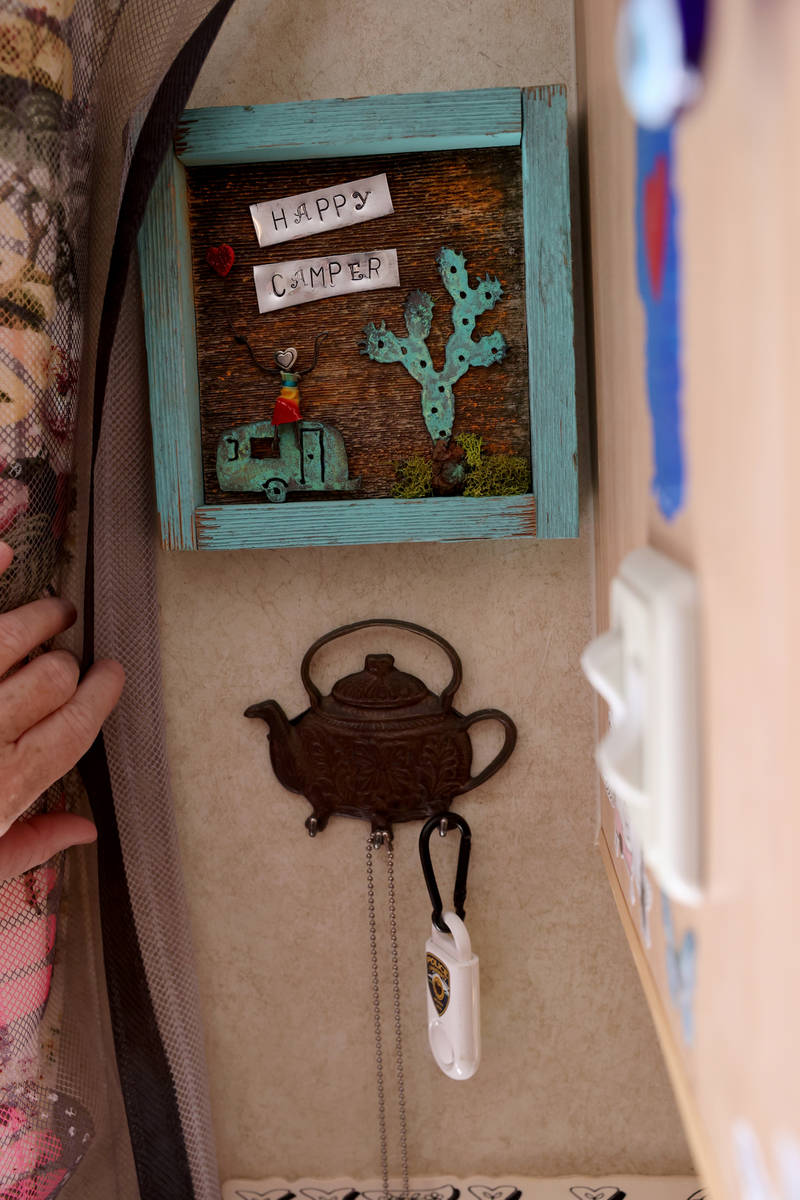 A decoration in the trailer of Susy Marsian-Bolduc parked at her Las Vegas house Thursday, July ...