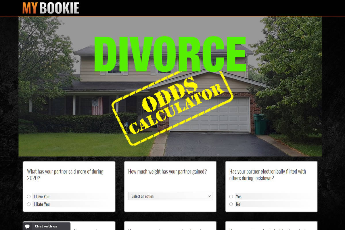 MyBookie's Divorce Odds Calculator offers betting lines on users' chances of getting a divorce, ...