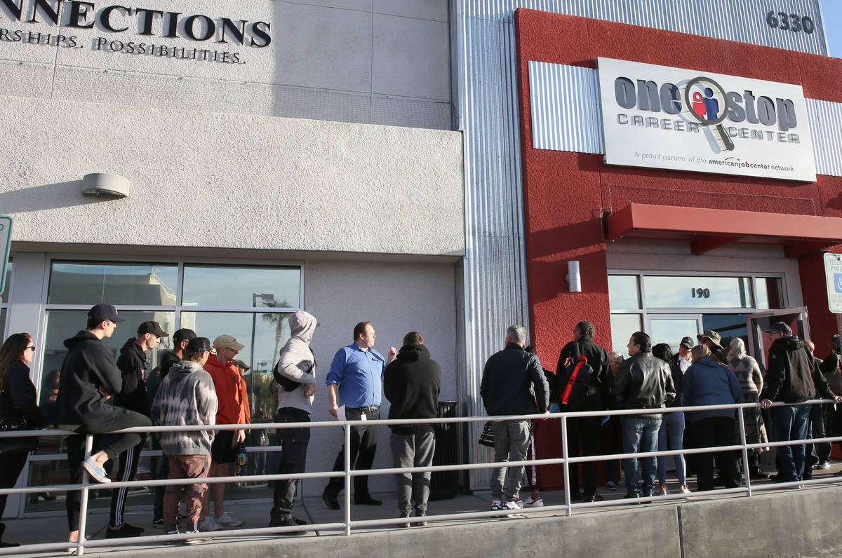 Las Vegas' unemployment rate hit 33.5 percent in April, with about 356,650 locals out of work ...