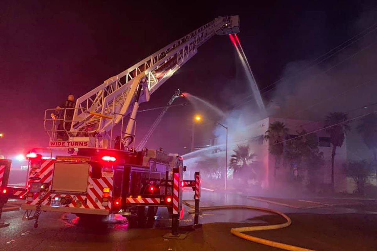 North Las Vegas firefighters battled a two-alarm fire on Thursday, July 9, 2020, near the inter ...
