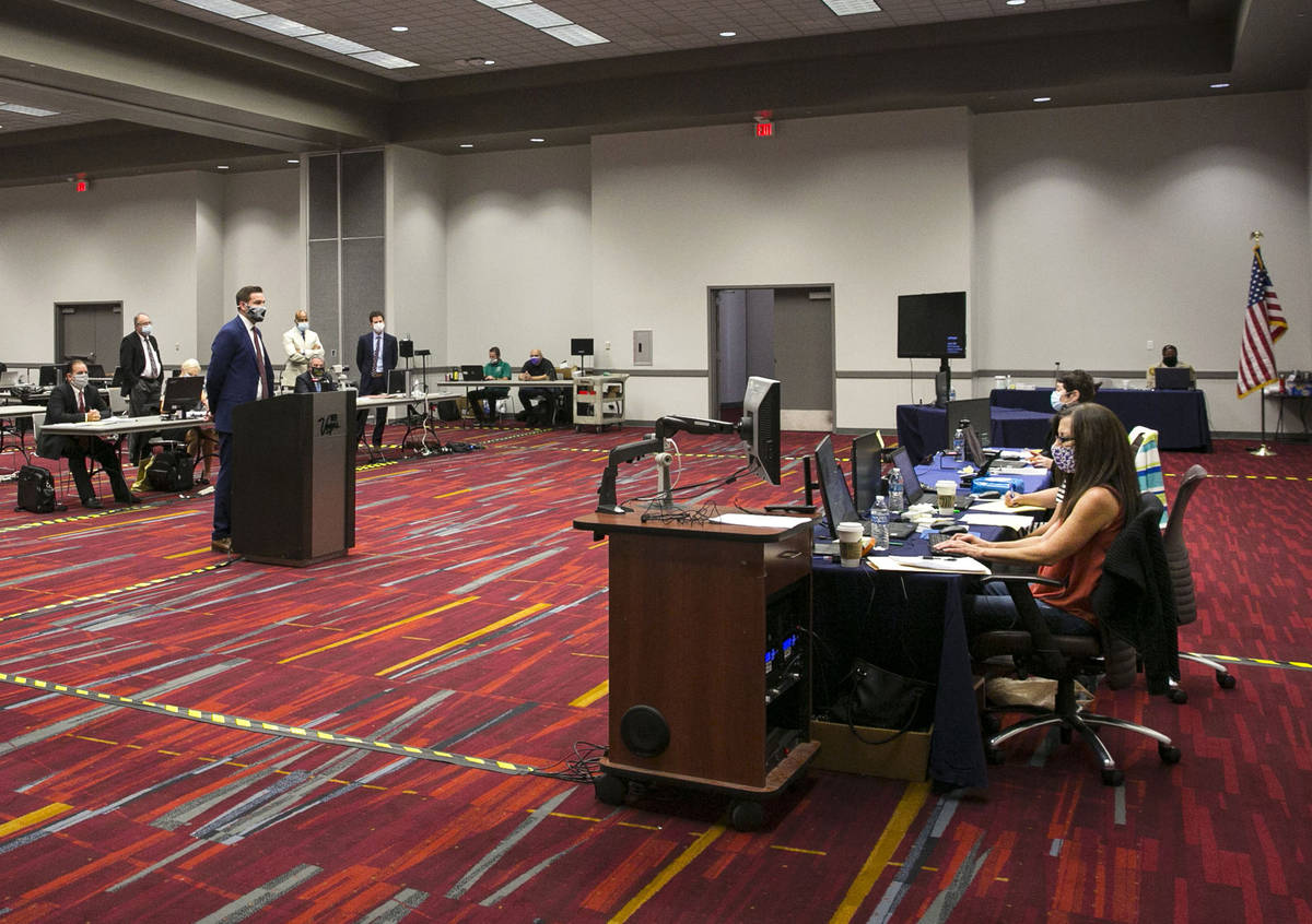 Nate Rulis, representing Planet 13 and LivFree dispensaries, addresses the court during a pretr ...