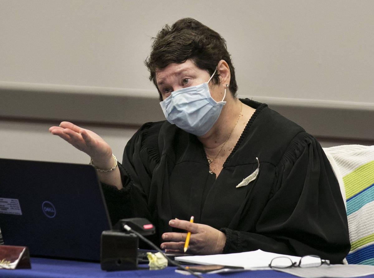 Judge Elizabeth Gonzalez presides over marijuana dispensaries license pretrial conference at th ...