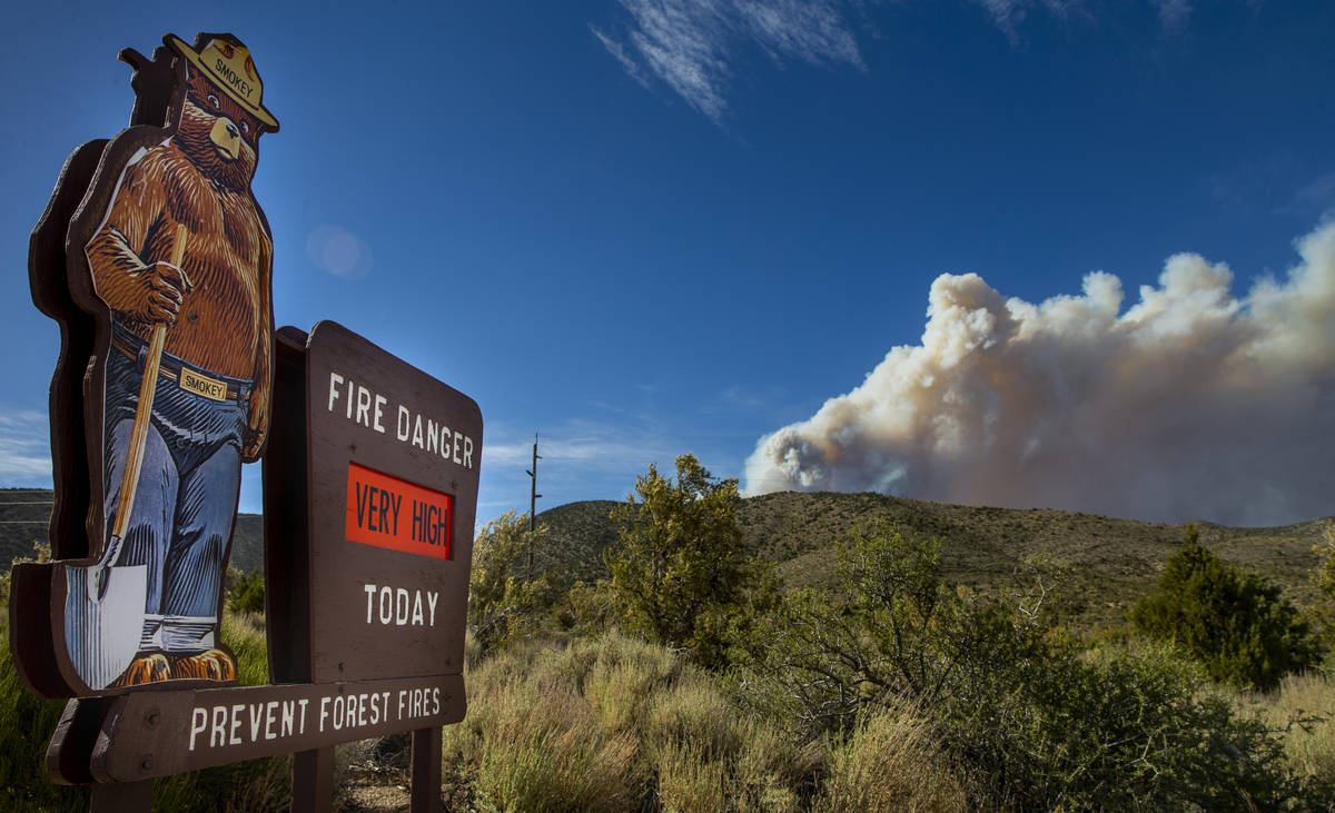 The fire danger remain high with Smokey the Bear off of Kyle Canyon Road during the Mahogany Fi ...