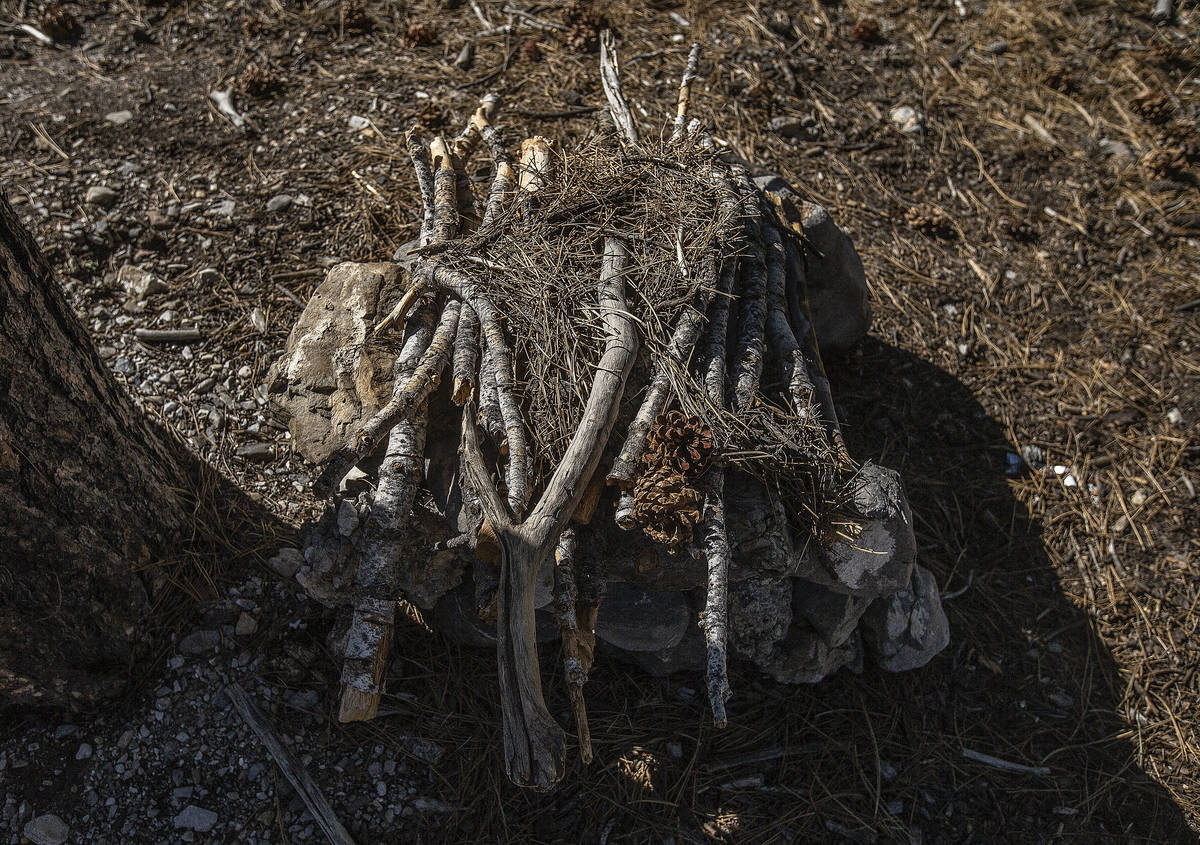 An illegal fire pit on a trail at Mount Charleston on Tuesday, July 7, 2020, near Las Vegas. (B ...