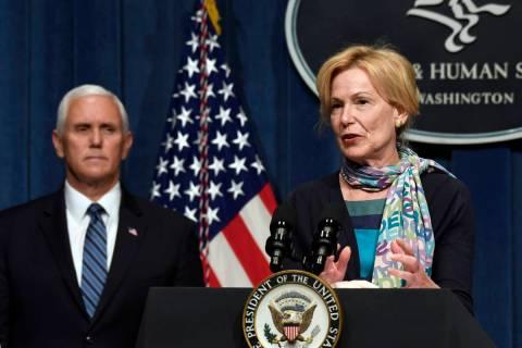 Vice President Mike Pence, left, listens as Dr. Deborah Birx, White House coronavirus response ...