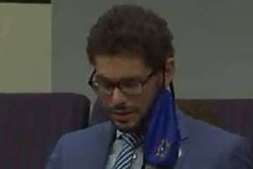Assemblyman Howard Watts III speaks without wearing a mask on July 8, 2020. (Screen capture fro ...