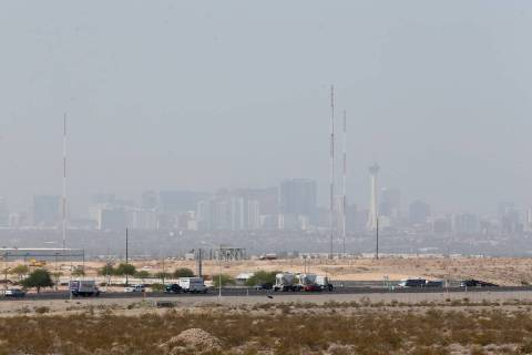 The Las Vegas Strip from North Las Vegas, Tuesday, July 31, 2018. Smoke from wildfires in Calif ...