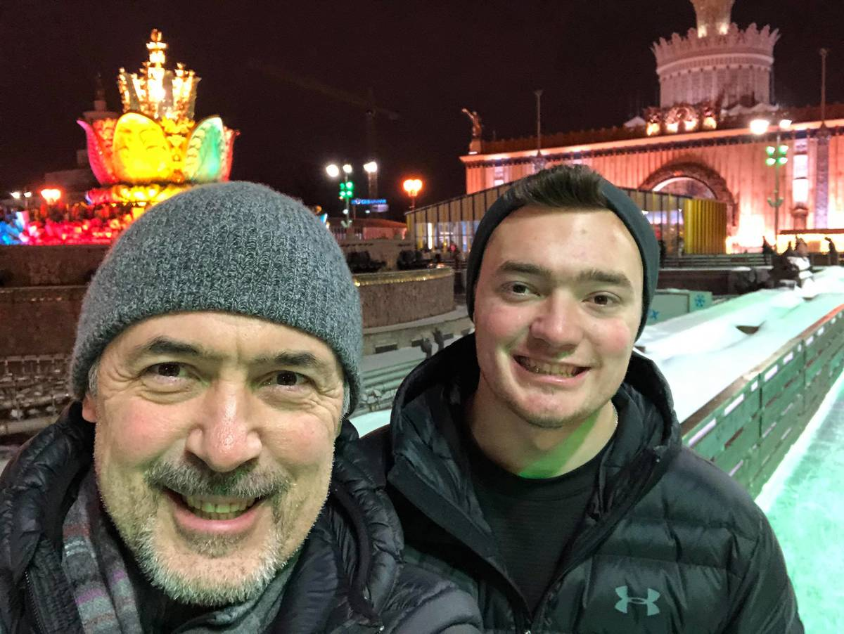 Alexander Gousev, 57, takes a selfie with his son, Alexander, during a recent trip. Gousev, a R ...