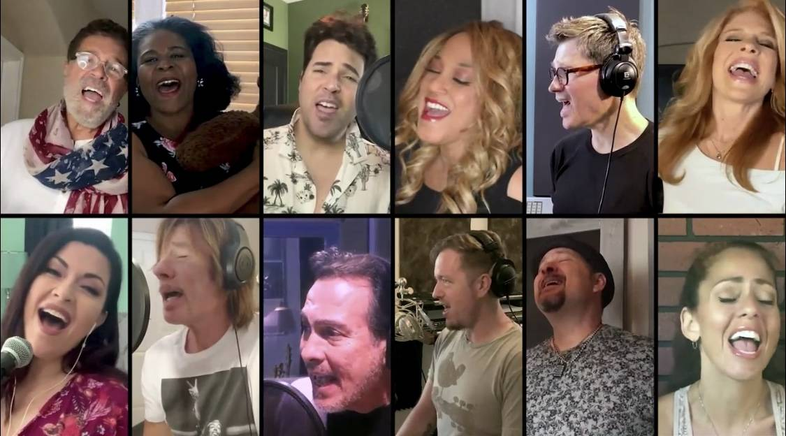 "A dozen Las Vegas performers are shown singing in the ""Someday We'll Be Together"" video, a Posi ..."