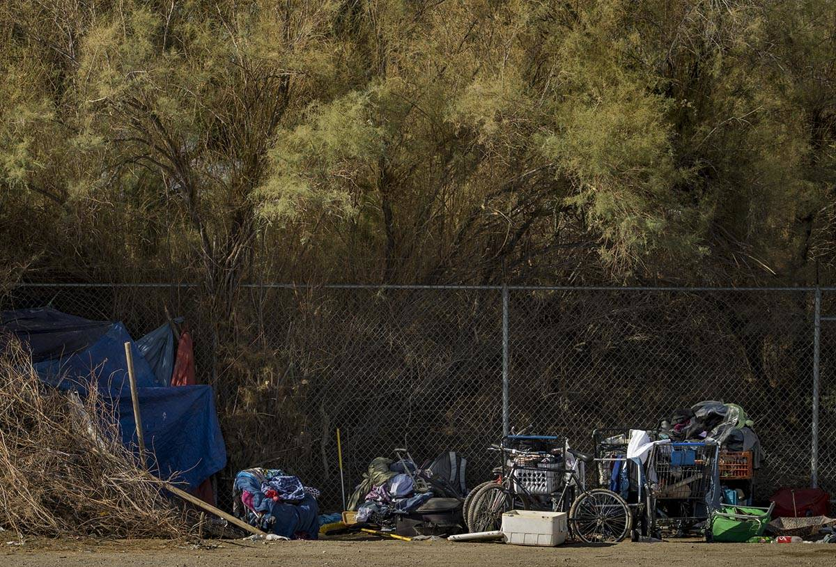 A homeless encampment near where Clark County firefighters extinguish a brush fire in east Las ...