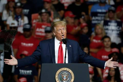 In a June 20, 2020, file photo, President Donald Trump speaks during a campaign rally in Tulsa, ...