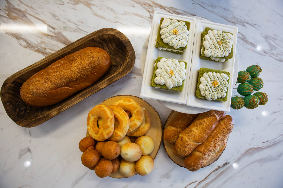 Columbian cheese bread and pastries are displayed at Take It Easy in Las Vegas on Friday, July ...