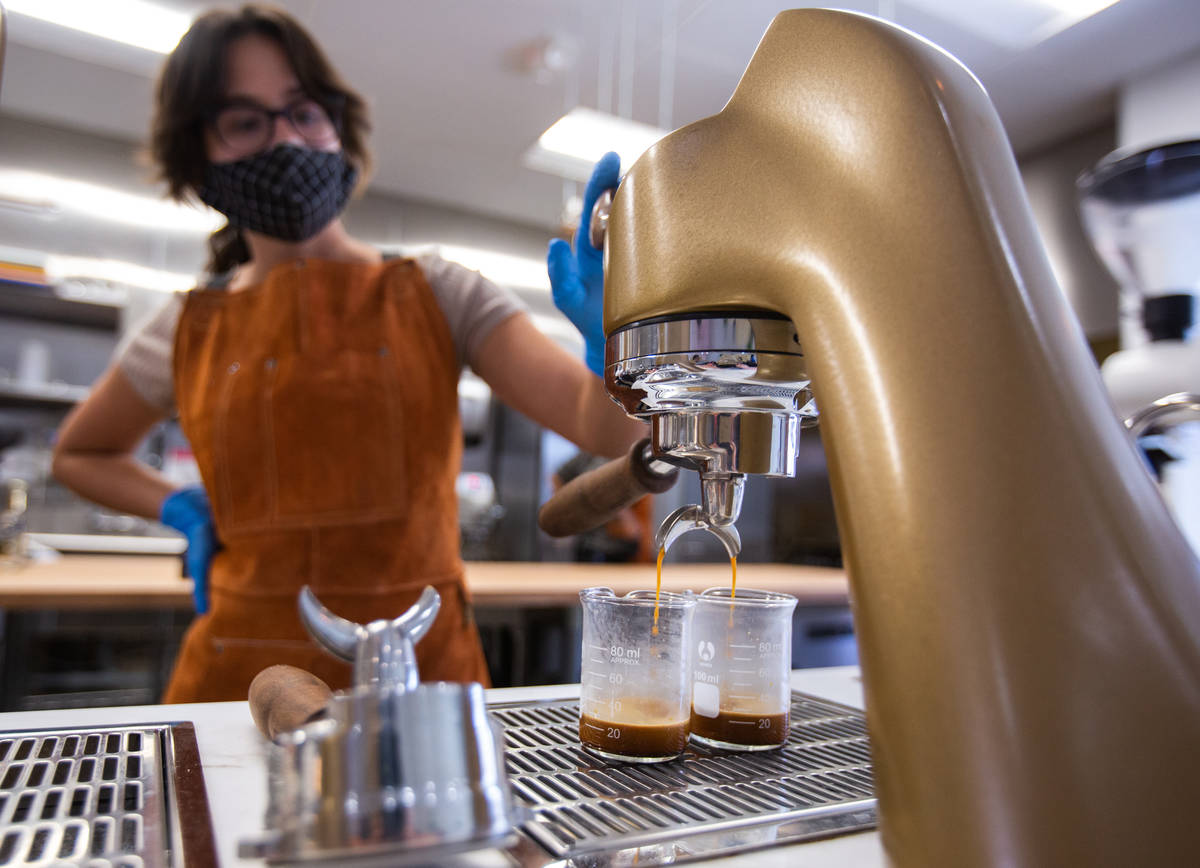 Quianna Rodriguez, a barista at Take It Easy, waits for two espresso shots to fill in Las Vegas ...