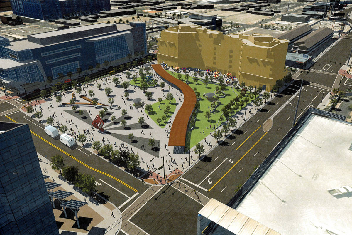 A tentative rendering for Las Vegas's Downtown Central Plaza Project. (City of Las Vegas)