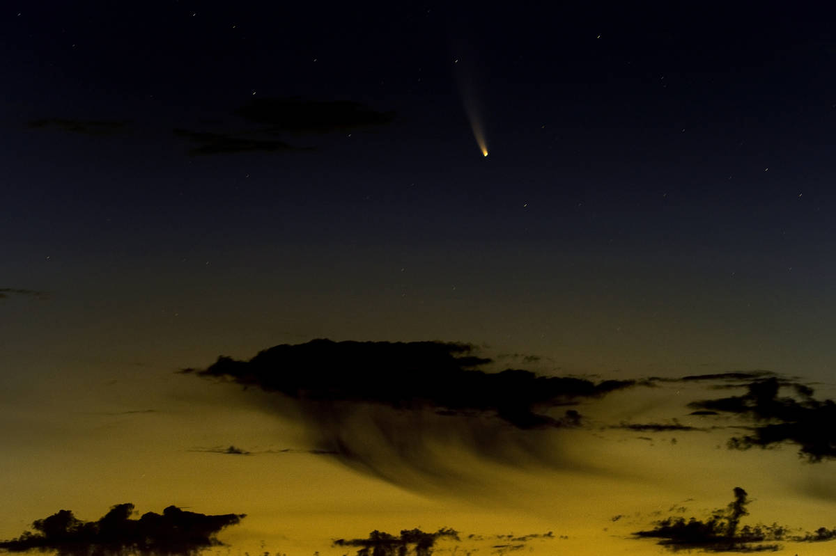 Comet NEOWISE streaks across the sky from the Wee Thump Joshua Tree Wilderness on Saturday, Jul ...