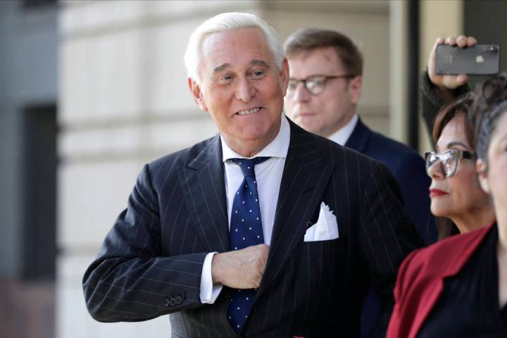 Roger Stone leaves federal court in Washington in 2019. (AP Photo/Julio Cortez)