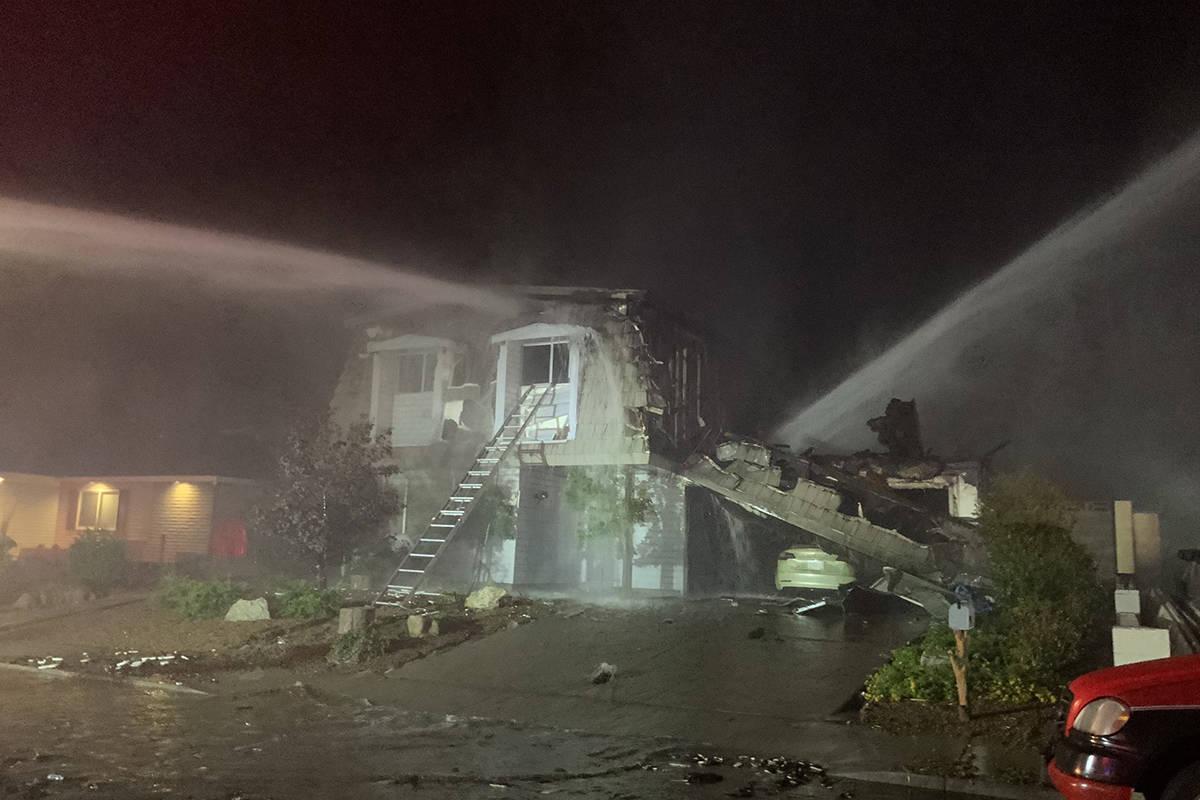 Las Vegas Fire & Rescue crews on Saturday, July 11, 2020, battle a fire in the central Las Vega ...