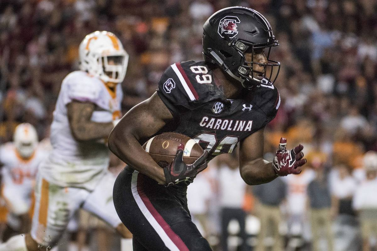 South Carolina wide receiver Bryan Edwards (89) runs with the ball during the second half of an ...