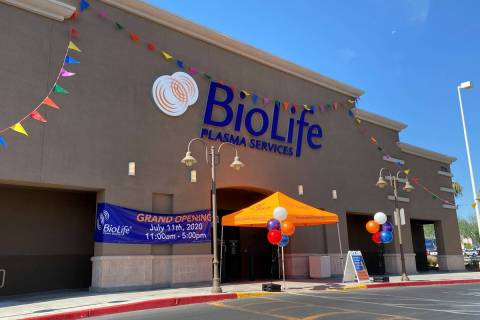 The new BioLife Plasma Services plasma collection center in North Las Vegas on its grand openin ...