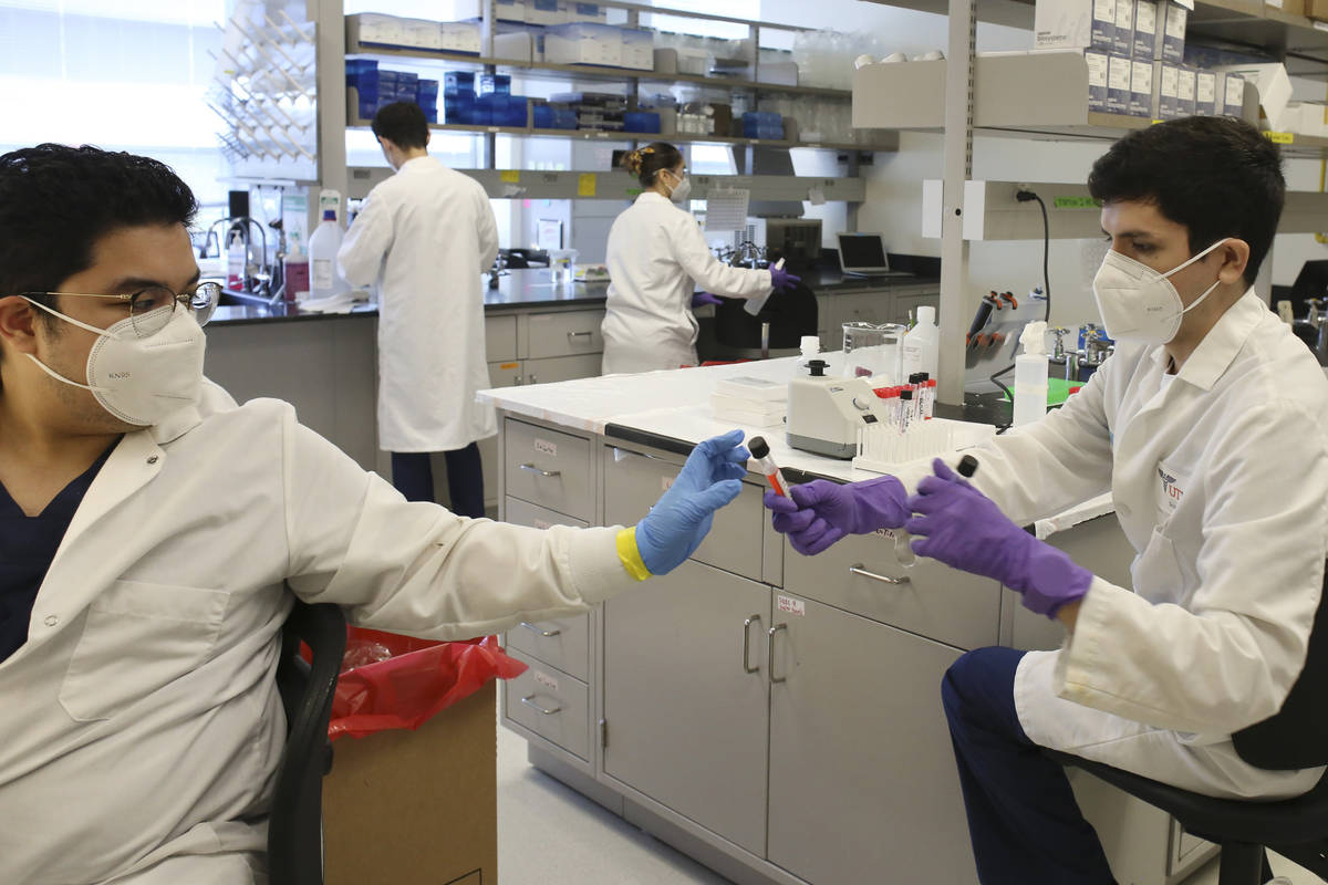 FILE - In this Friday, July 10, 2020 file photo, lab technicians work with COVID-19 testing sam ...