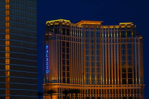 The Palazzo glows blue to celebrate National Nurses Day on Wednesday, May 6, 2020, in Las Vegas ...