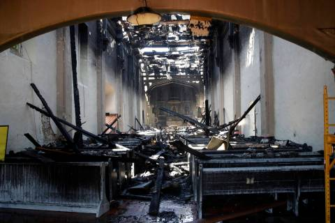 The interior of the San Gabriel Mission is damaged following a morning fire, Saturday, July 11, ...