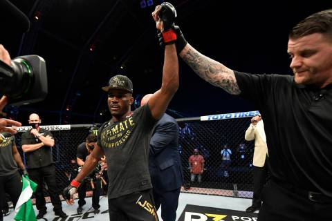 Kamaru Usman of Nigeria celebrates after his victory over Jorge Masvidal in their UFC welterwei ...