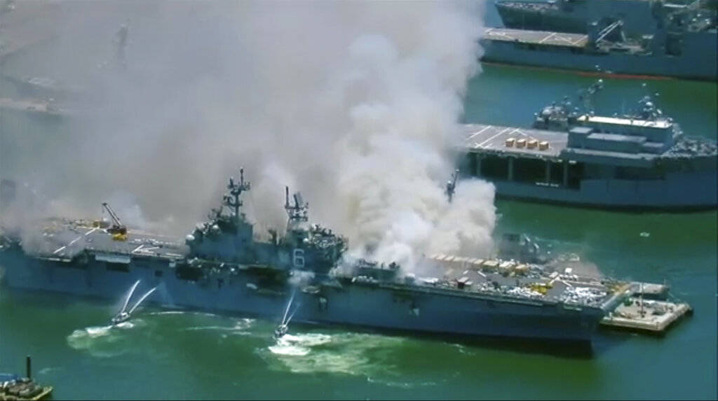 This screenshot provided by KGTV-TV in San Diego shows the USS Bonhomme Richard at Naval Base S ...