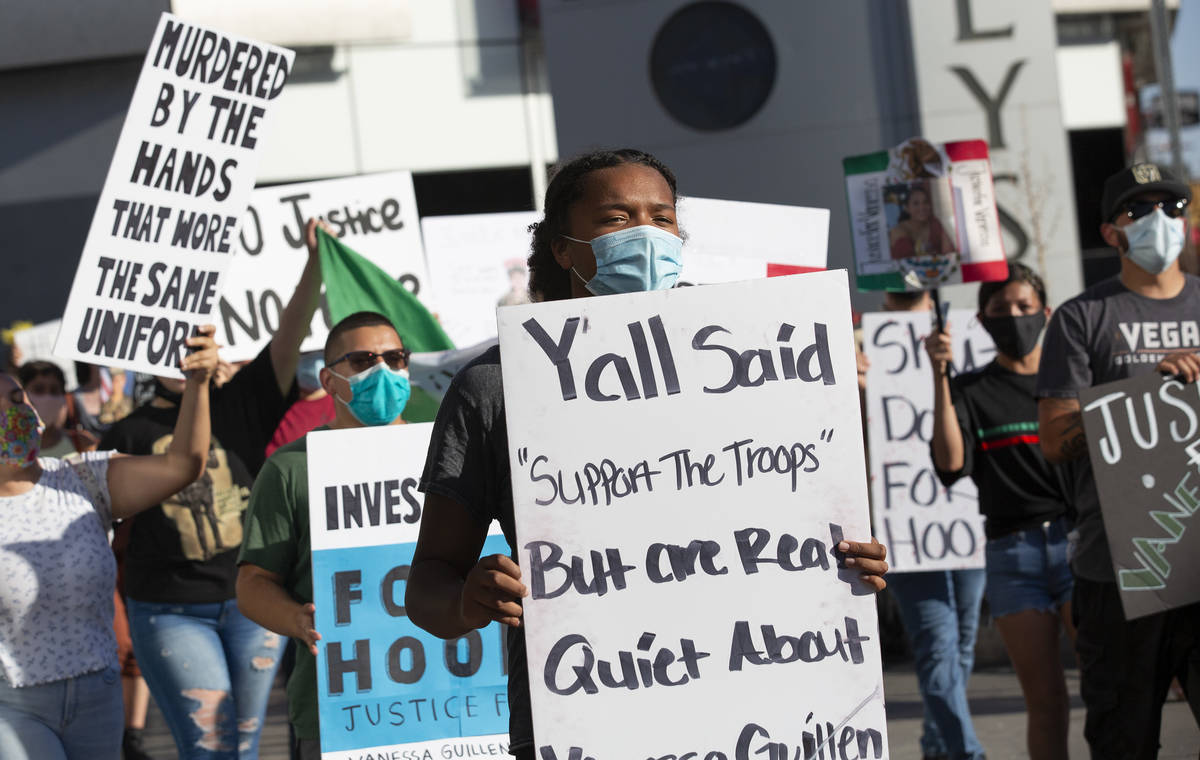 A protest for Vanessa Guillen moves down Las Vegas Boulevard on Sunday, July 12, 2020, on the L ...
