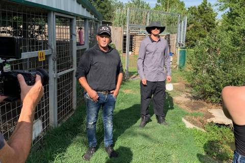 Jeff Lowe, left and Zak Bagans are shown at Greater Wynnewood Exotic Animal Park on Friday, Jul ...