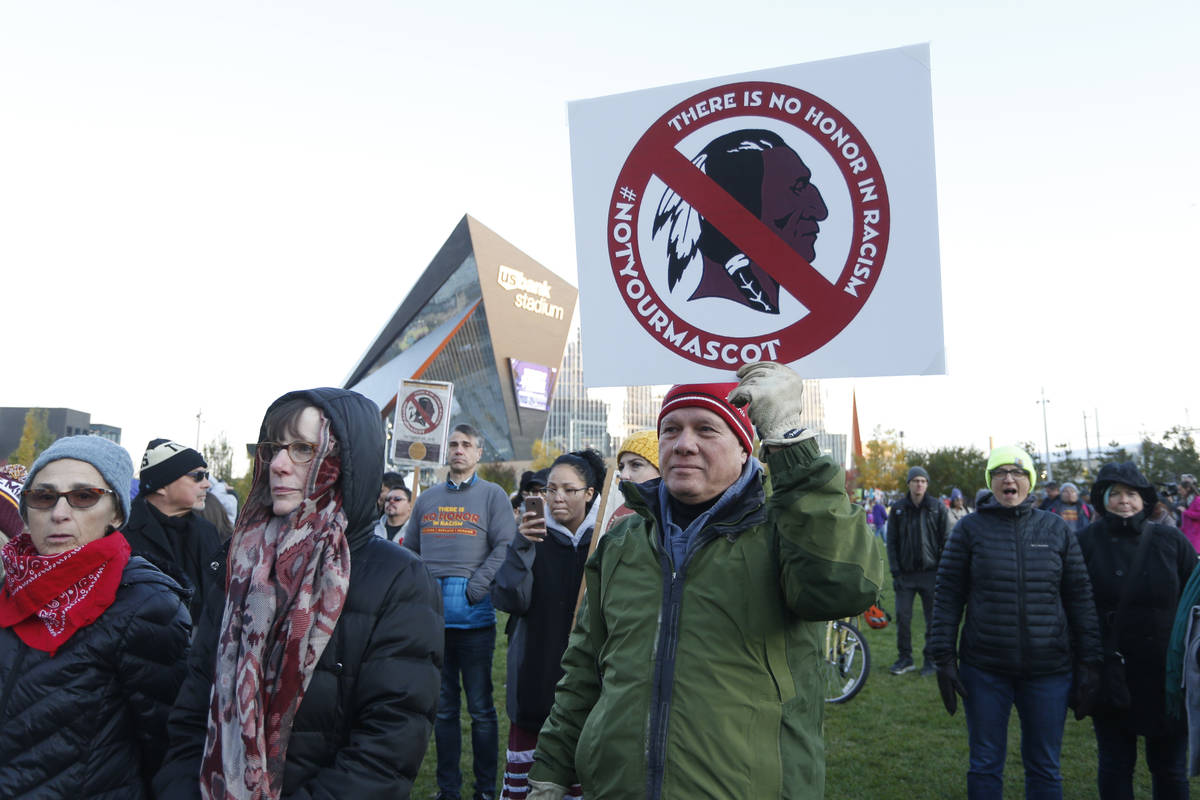 FILE - In this Oct. 24, 2019, file photo, Native American leaders protest against the Redskins ...