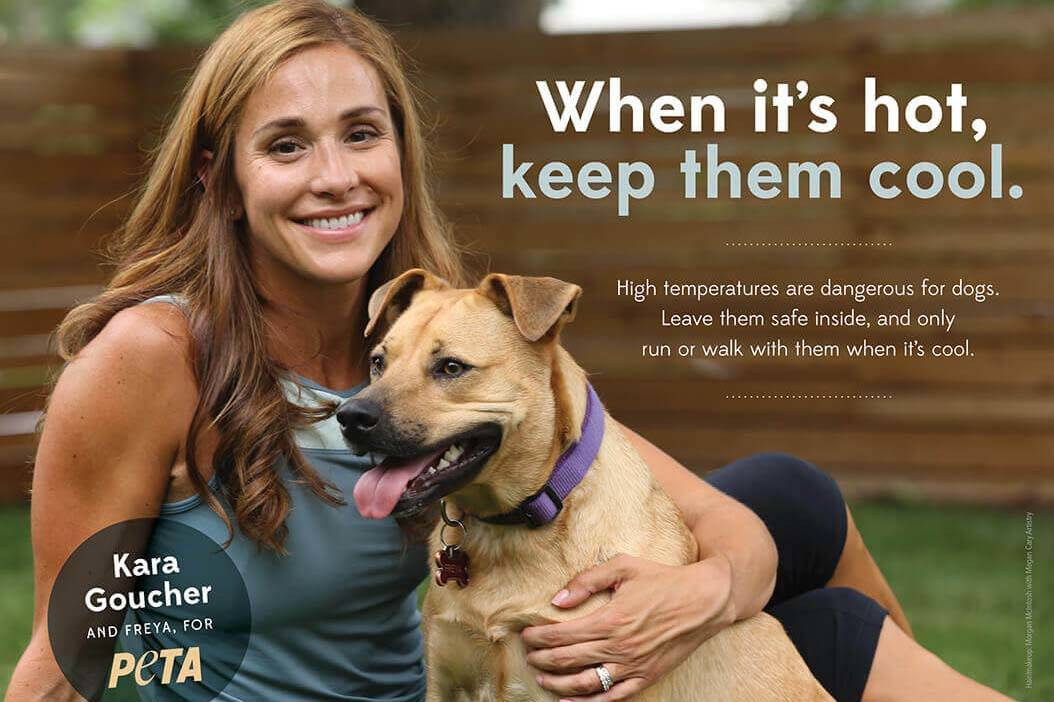 PETA's hot weather public announcement featuring American Olympic long-distance runner, Kara Go ...