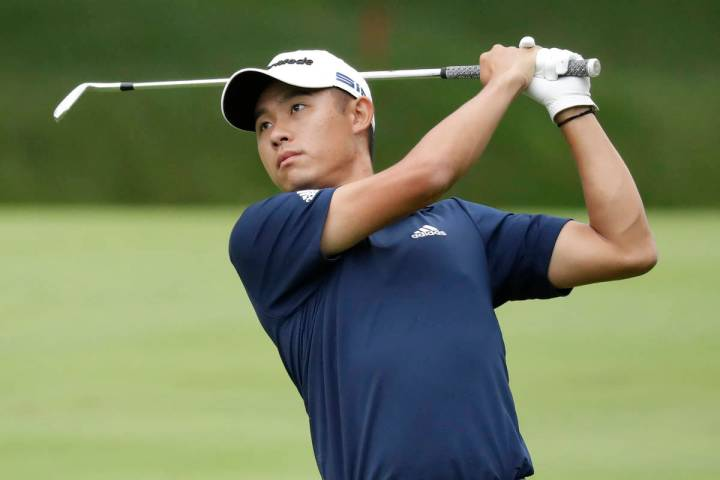 Collin Morikawa hits on the second hole during the final round of the Workday Charity Open golf ...