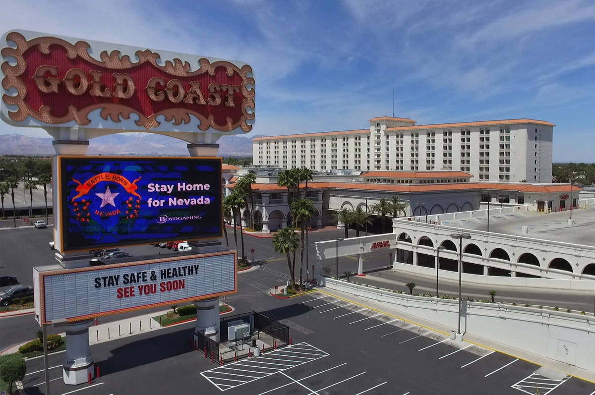 Gold Coast hotel-casino photographed on Tuesday, May 26, 2020, in Las Vegas. (Bizuayehu Tesfaye ...