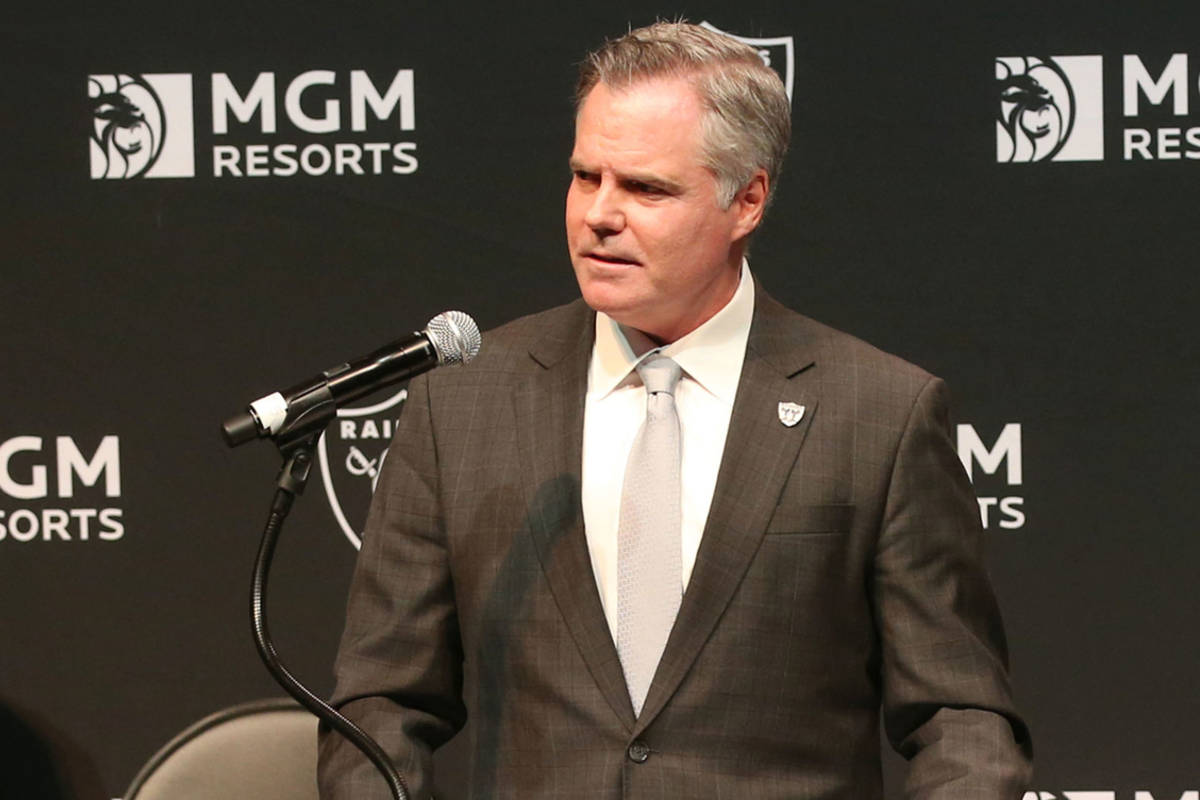 Jim Murren, now former MGM Resorts CEO and chairman, speaks at a news conference at Mandalay Ba ...