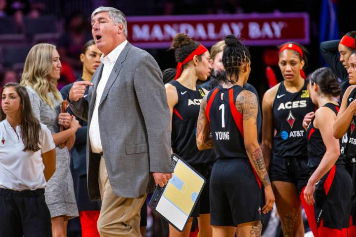 Las Vegas Aces head coach Bill Laimbeer tells officials his team should have the ball versus th ...