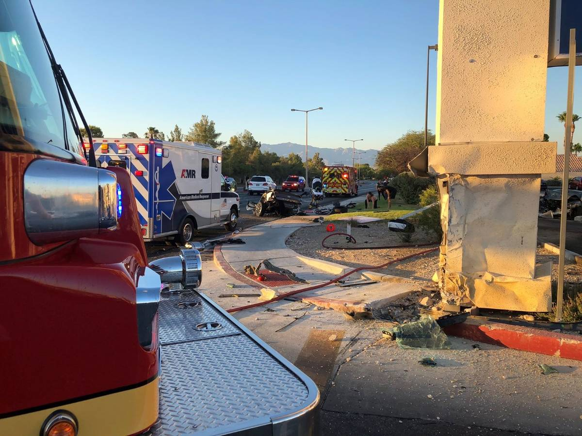 A 1-year-old child was killed in a two-vehicle crash at Rampart and Lake Mead boulevards about ...