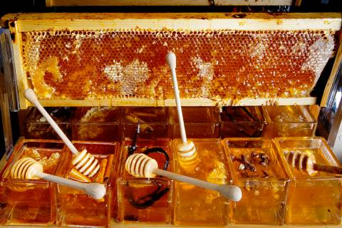Honeycomb in a Window Pan is displayed at Bacchanal Buffet in Caesars Palace hotel-casino in La ...