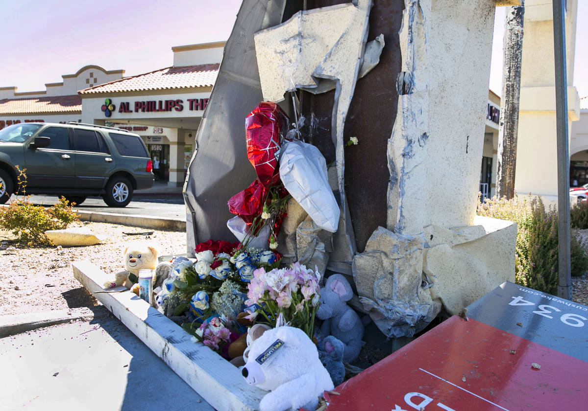 A makeshift roadside memorial at Rampart and Lake Mead Boulevards on Tuesday, July 14, 2020, wh ...